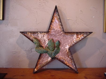 Copper Lone Star and Cactus Wall Sculpture