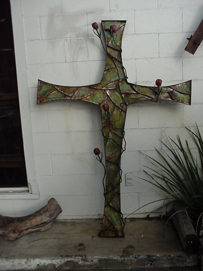 Cross with Roses Wall Sculpture