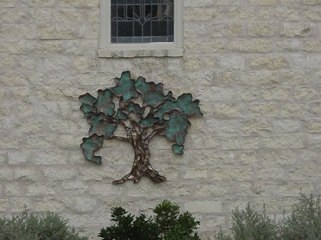Copper Oak Tree Wall Sculpture Installed Close-up